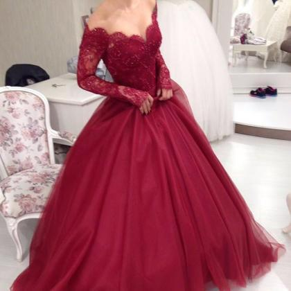 Long Sleeves Ball Gown Prom Dresse..