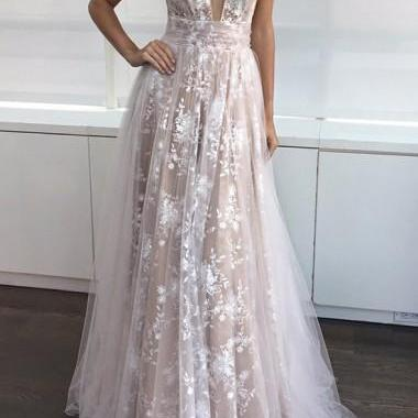 2017 Prom Dresses With A-Line V-Neck Sleeveless Appliques Floor-Length Lace Deep Champagne Lining White tulle Long Prom Dress