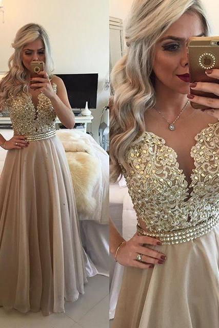 New Arrival Formal Dress Prom Dress Sheer Illusion A-Line Prom Dresses Floor Length Lace Evening Gowns with Beadings