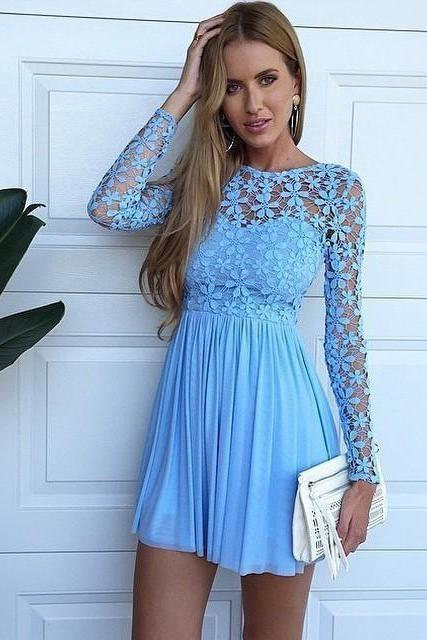 Sexy Long Sleeve Hollow Lace Blue Homecoming Dresses New arrival Chiffon Short Cocktail Party Dresses Mini Bridesnmaid Dresses