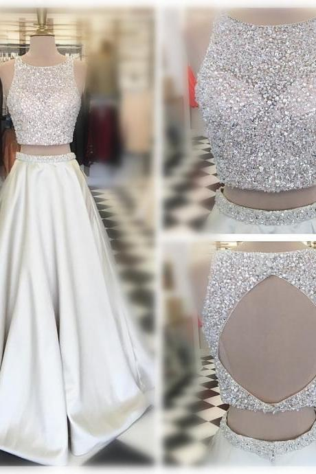 Silver Two Pieces Prom Dresses,Beaded Sequins Elegant Party Dress,Sleeveless Jewel Round Backless Evening Dress,Floor Length SIiver Satin Party Gowns