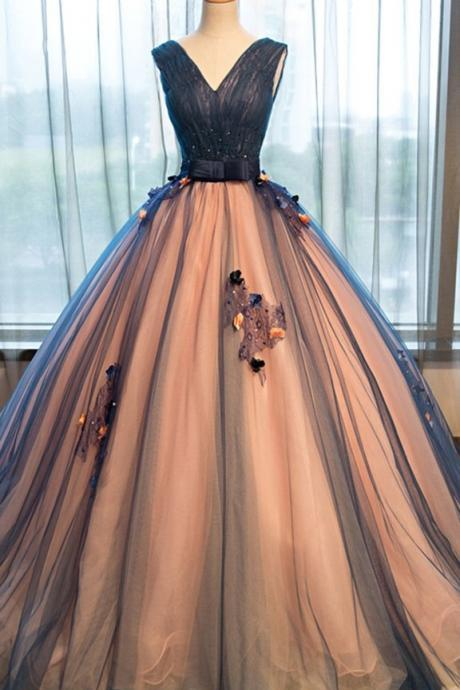 Pretty Tulle V-Neck Prom Dress,Applique A-line Formal Dress,Long Evening Dresses,Ball Gown Prom Dress,Prom Dresses
