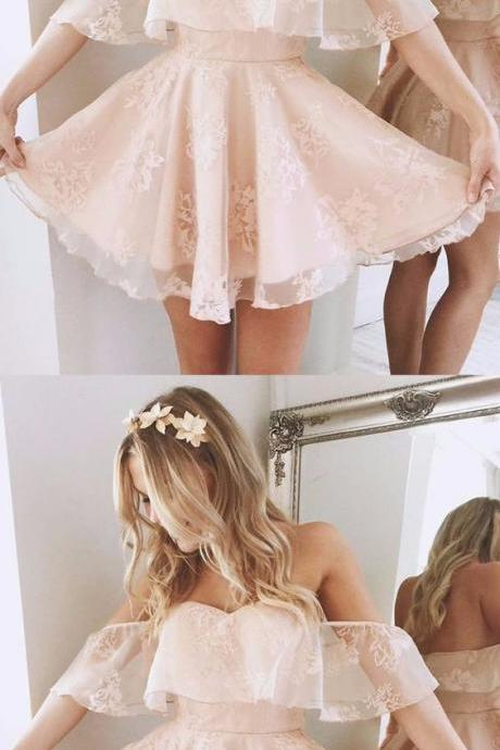 Beautiful Cute Homecoming Dresses 2017 Short Sweetheart Backless Pink Lace Mini Skirt For Curvy Girls
