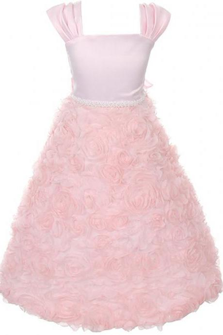 Flower Girl Dresses Full Length Cap Sleeves with Beaded Flower Bowknot Zipper Back Pink Wedding Party Gown Dress