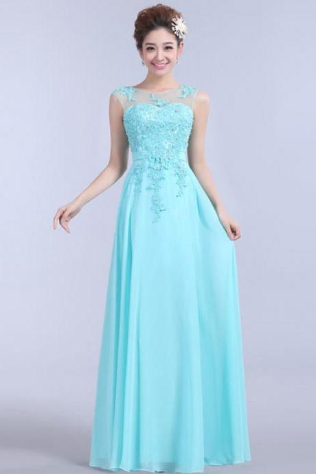 Wedding Bridesmaid Sleeveless with Beadings Pleats A-Line Floor Length Long Chiffon Graduation Dress