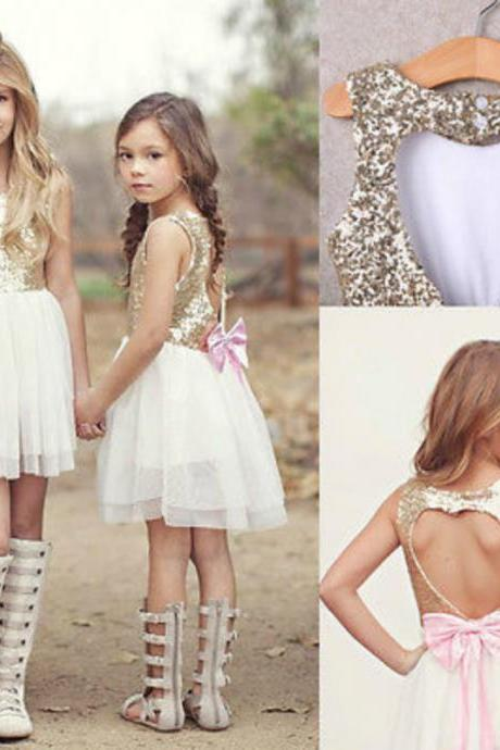 Sequins Princess Kids Baby Flower Girl Dress Bowknot Backless O-Neck Above Knee Length Chiffon Party Gown Dresses