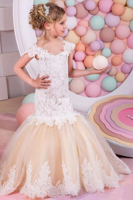 Mermaid Lace Flower Girl Dresses for Weddings Champagne 2016 Tulle Baby Girl Communion Dresses Children Girl Pageant Gown