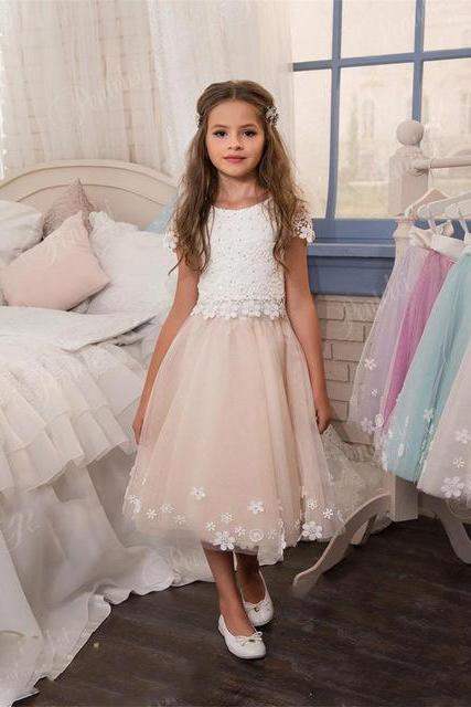 Flower Girl Dresses Short Sleeve O-neck Tea-Length Lace Applique Tulle For Wedding First Communion Dress