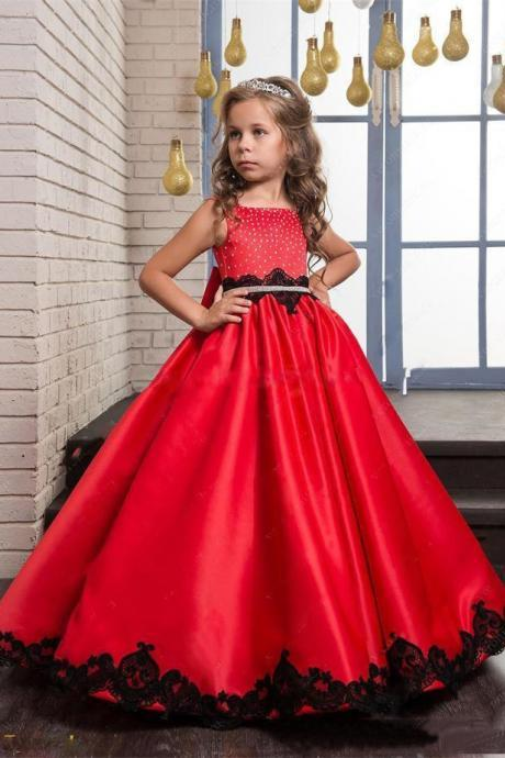 Flower Girl Dresses 2017 Red Cute Beaded Sequins Bow Black Lace Appliques A-line Girl's Pageant Dress First Communion Gowns