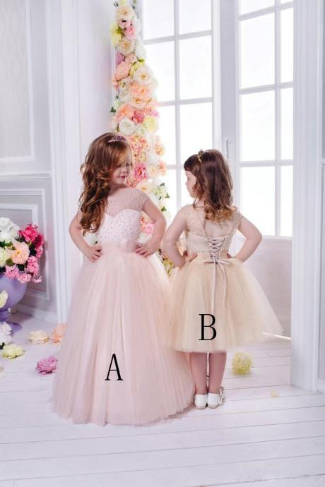 Flower Girls Dresses Cheap Beaded For Weddings A Line Cap Sleeves Kids Pageant Dress Tulle First Communion Gowns