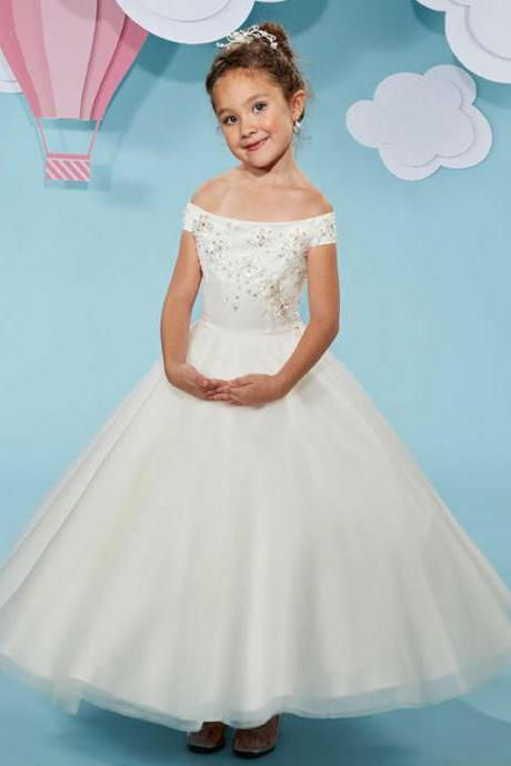 High Quality Flower Girl Dress Boat Neck Off the Shoulder For Wedding Ankle Length Custom Made Girl's Pageant Party Gowns