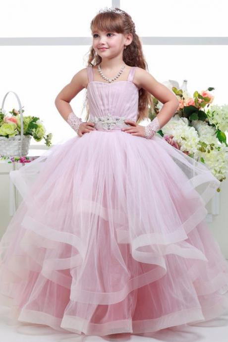 Flower Girl Dresses 2017 Pink Long Spaghetti Strap Pleats Floor Length Sleeveless Tulle Ball Gown Long Kids Prom Dress First Communion Gown