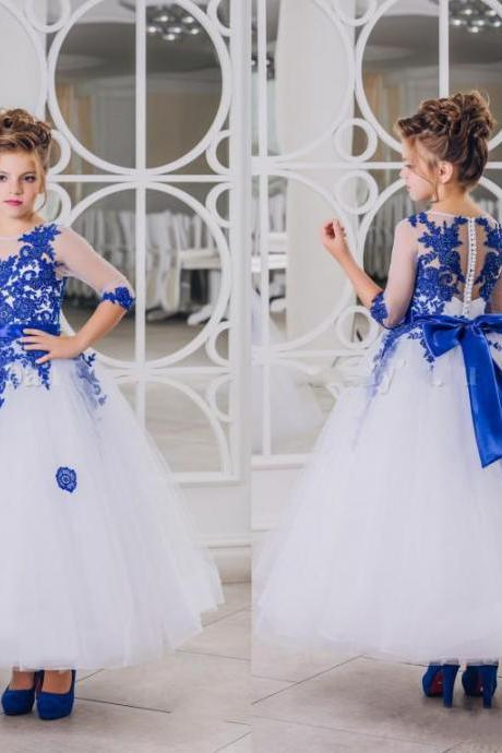 New Lovely Royal Blue Lace Appliques Flower Girl Dresses 2017 Half Sleeves With Bow Sash Ankle Length Girl Pageant Gowns