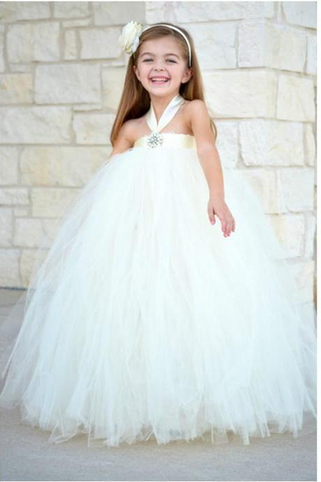 Honey Qiao 2017 Ivory Flower Girls Dress For Wedding Gowns Sleeveless Halter with Crystal Tulle Dress Baby Kids Girls Pageant Birthday Party Dresses 1-14Years