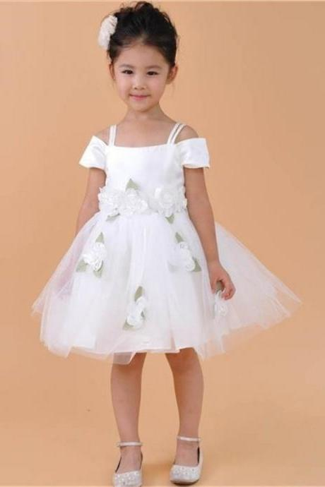 2017 Flower Girl Dresses White Organza Off the Shoulder Spaghetti Straps Sleeveless Above Knee Length with Flower Bow First Communion Dresses