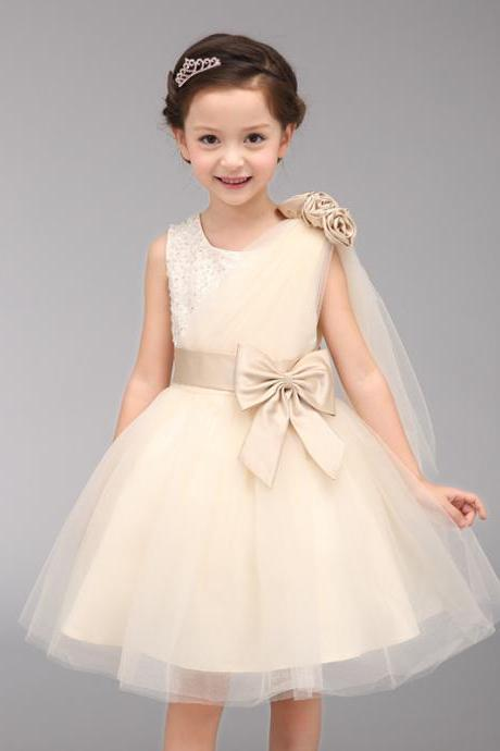 Children's Princess Dress High Girl Bow Lace O-neck Above Knee Length Sleeveless with Flower Bowknot Beaded Champagne 2017 Flower Girl Dress