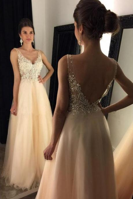 Honey Qiao Junoesque Prom Dresses 2017 V-Neck Sleeveless Floor-Length with Beaded Appliques Long Backless Champagne Tulle Evening Dress vestido de festa