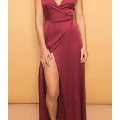 Prom dress Formal dress High Slit Burgundy V Neck Floor Length Sheath Column Prom Dress Split Side Backless Floor Length Evening Dress