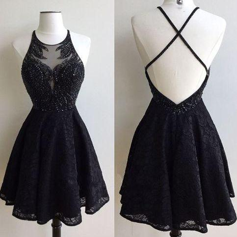 New Arrival Sleeveless Backlesss Homecoming Gown Dress,Open Back Prom Dresses,Sexy Prom Dresses,Short Party Dress,Black Lace Dress with Beaded