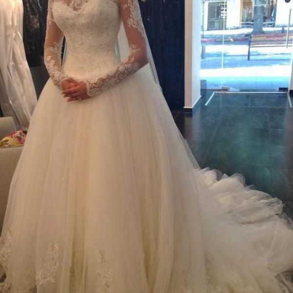 Wedding Dresses 2017 A-Line High Neck Long Sleeves Court Train Lace Crystal Tulle Bridal Gowns